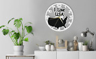 Wall Clock I Love USA Map Gift Silent Non-Ticking Room Ply Wood 177