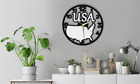 Wall Clock USA Map Gift Silent Non-Ticking Room Ply Wood 178