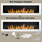 BIO ETHANOL FIREPLACE Passion 1700mm *NEW*/ GLASS PANEL/ STONES+WOOL+COLOURS