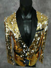 Mens INSOMNIA MANZINI Entertainer Jacket Blazer REVERSIBLE Gold White Sequins