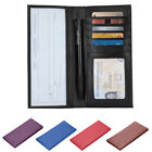 New Leather Checkbook Cover Card Holder Wallet Unisex RFID Blocking W/ ID Window image
