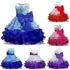 Toddler Kids Flower Girl Bow Dress Birthday Wedding Pageant Party Gown Dresses