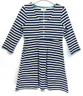 ORGANIC COTTON NAVY WHITE STRIPED TUNIC 3/4 SLEEVES HIGH WAISTED POCKETS