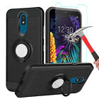 For LG Neon Plus (AT&T) Case With Ring Stand Holder Cover+Glass Screen Protector