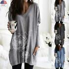 Plus Size Women Long Sleeve Pocket T-Shirt Tops Ladies Casual Loose Blouse Tunic
