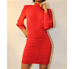 John Zack Mini Dress  ruched With full sleeves Red Black