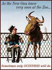 The New Gnu Knew Only A Guinness Will Do Vintage Poster Print Beer Advertising