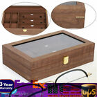 12 Slot Watch Display Case Wood Wooden Boxes Jewelry Storage Organizesr Gifts US image