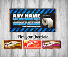 Personalised Chocolate Bar Wrapper - Self isolation - Toilet Roll - Fun gift
