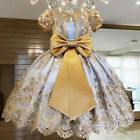 Girls Elegant Princess Children Party Dresses Wedding Ball Gown Size 4-11