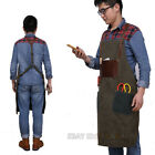 Work Apron Cotton Canvas Leather Coffee Shop Garden Apron Wear-resistant Vintage