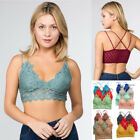 Anemone Women's Sexy Comfortable Lace Padded Wireless Stretch Bra Bralette Top
