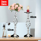 2pcs Chic Metal Chandelier Pillars Stands Silver Table Candle Holder Home Decor