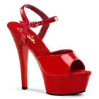 PLEASER KISS-209 RED PATENT POLE DANCING STILETTO HEEL SHOES SANDALS