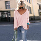 New Womens Long Sleeve V Neck Loose Knitted Sweater Ladies Casual Jumper Tops
