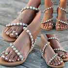US 11 Womens Rhinestone Bling Slingback Sandals Bohemia Flip Flops Shoes zx00