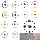 3D Large Wall Clock Frameless Mirror Number Sticker Modern Art Decal Decor US