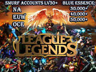 League Of Legends Smurf Account 30,000-60,000 BE Unranked Lv30+ NA/EUW/OCE LOL