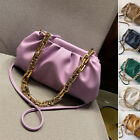 2 Straps! Ruched Chunky Big Gold Chain Pouch Clutch Shoulder Bag Crossbody Purse
