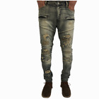 Men's Knee Pad Distressed Stretchable Slim Skinny Ankle Fit Jeans by FOCUS-25