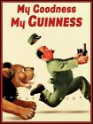 Lion Chasing Zookeeper My Goodness Guinness Vintage Poster Print Art Bar Decor