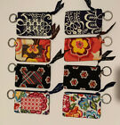 Vera Bradley ID Wallet Small Card Coin Holder Key Ring blue white pink green image