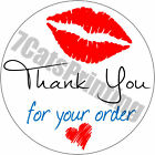 "Внешний вид - 63 Thank You For Your Order Stickers Kisses Heart Envelope Seals 1"" Round Labels"