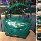Soft Shine Woven Real Leather Slouch Bag Trapeze Arc-Shaped Shoulder Tote Handle