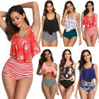 Women High Waist Swimwear Push Up Padded Bra Bikini Set Swimsuit Bathing Suit US