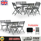 Outdoor Dining Set Steel Folding Table Chairs Garden Patio Grey Furniture Set Uk