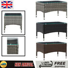 Garden Table Coffee Tea Table Poly Rattan Steel Outdoor Dining Table Glass Top