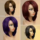Women Bob Synthetic Wigs Short Straight Wavy Curly Hair Wigs With Oblique Bangs