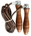 EVO Fitness Leather Skipping Rope Adjustable Indoor Gym Workout Wooden Handles