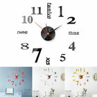 Modern Quartz Large Wall Clock 3D Mirror Sticker DIY Home Office Room Decor US
