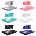 Super Soft Satin Silk Fitted Sheet Deep Pocket Fully Elastic Pillowcases Bedding image