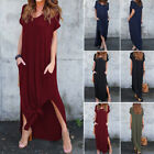 Women Travel Maxi Dress Pencil Casual Side Split Long Beach Loose Pocket V Neck