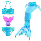 New Swimsuit Swimmable Mermaid Tail Swimming 3pcs Bikini Monofin for Kids Girls