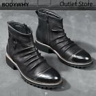 Men Chelsea Boots Leather Vintage Style Cowboy Boots High Top Zipper Ankle Boot