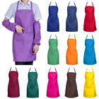 Man Woman Plain Cooking Catering Work Apron Tabard With Twin Double Pockets