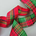 TARTAN RIBBON Red Green Gold 25mm 1