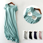 Soft Stretch Built In Bra Wireless Patio Midi Dress Nightgown Lounge Sleepwear