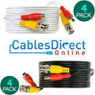 Pack Of 4 X Cctv Cable Security Camera Bnc Dc Power Video Wire White Black