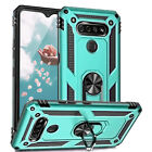 For LG K51 Magnetic Support Metal Ring Stand Phone Case Cover +Tempered Glass