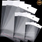 Small 100 Clear Self Adhesive Seal Plastic Bags OPP Poly Bag Hang Hole Storage