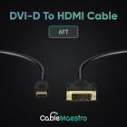 DVI-D To HDMI Male To Male Cable Gold 24+1 HDTV PC Display Wire Monitor 1.5-50FT