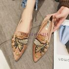 Womens Flat Heel Fashion Embroidery Pointy Toe Slip On Casual Mule Suede Loafers
