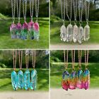 Crystal Healing Stone Chakra Natural Pendant Necklace Colorful Chain Usa Seller