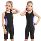Girls Knee Length One Piece Swimsuit Training Racing Bathing Suits Children 543