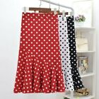 Lady Midi Skirt Polka Dots Ruffle Frilly Fishtail Spotted Red Black White Casual