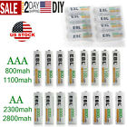 EBL 4/8/16/20pcs AA AAA NI-MH 800/1100/2300/2800mAh Rechargeable Batteries Lot